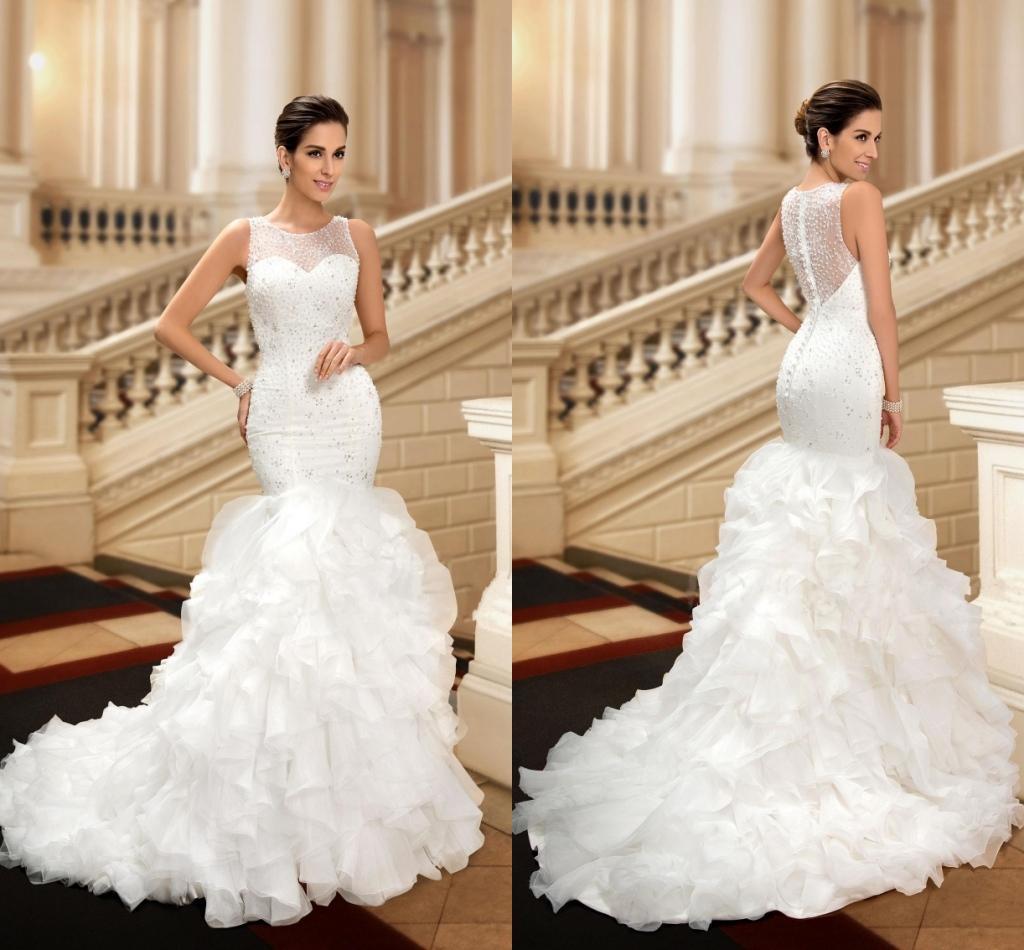 New Sheer Luxury Beaded Crystal Plus Size y Mermaid