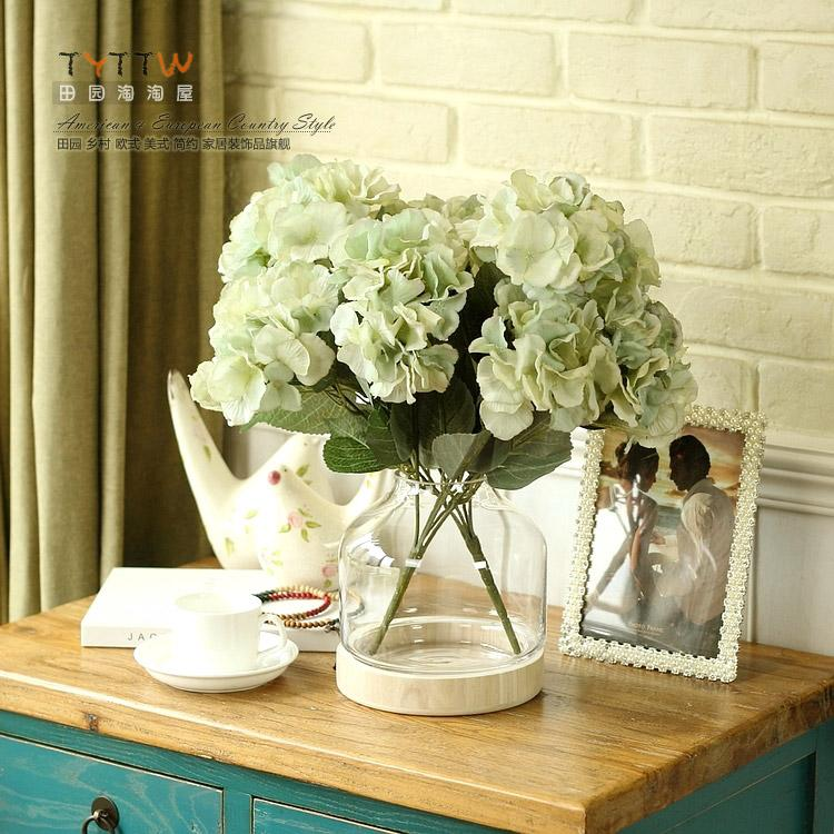 Single Oil Painting And Charming Baroque Vintage 5 Large Heads Hydrangea Artificial Silk Flowers For Wedding Home Decoration Painting Flower Pot Paintings