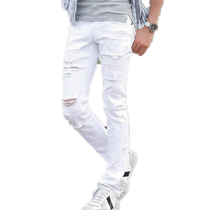 Best 1603 2015 New White Ripped Jeans Men With Holes Super Skinny ...