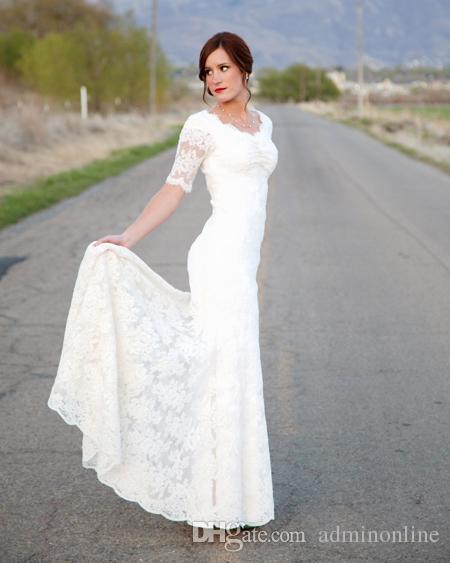 2016 romantic short sleeves wedding dresses lace v neck for Modest lace wedding dresses