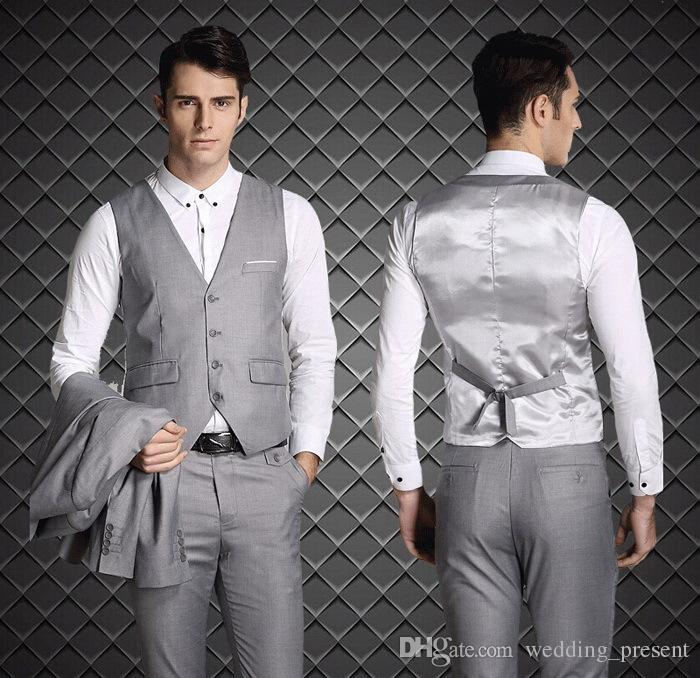 2015 European Style Slim Fit Groom Tuxedos Light Grey Custom Made ...