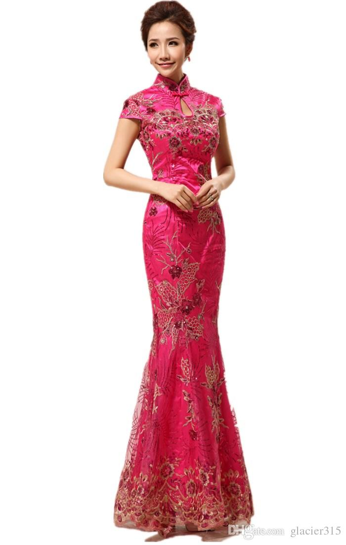 Chinese Traditional Dress Long Fashion Design Flower Embroidered ...