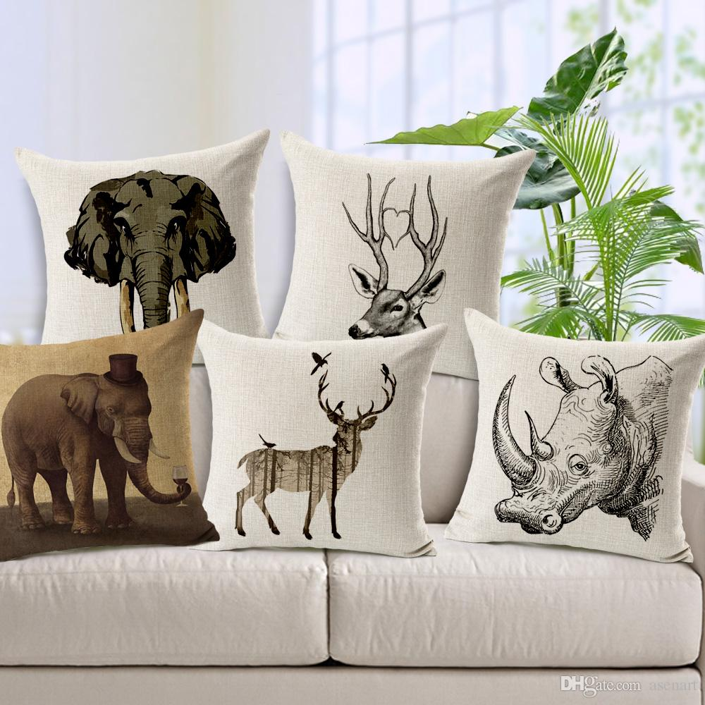african animal sofa cushion covers rhino deer elephant pillow covers linen cotton decoration for home car office decor cushion cover 45x45cm pillow cover