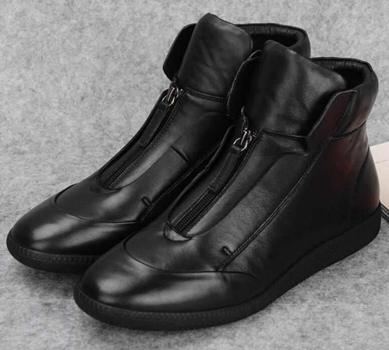 Designer Front Zipper Black Trendy Mens Walking Shoes Ankle Boots ...