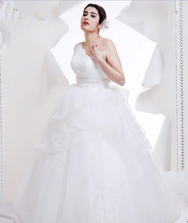 Full Figured Ball Gown Wedding Dress One Shoulder Lace
