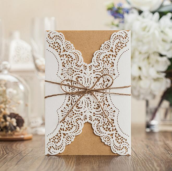 White Lace Wedding Card 2016 Three Pieces With Rope Kraft Wedding – Diy Wedding Invitations Lace