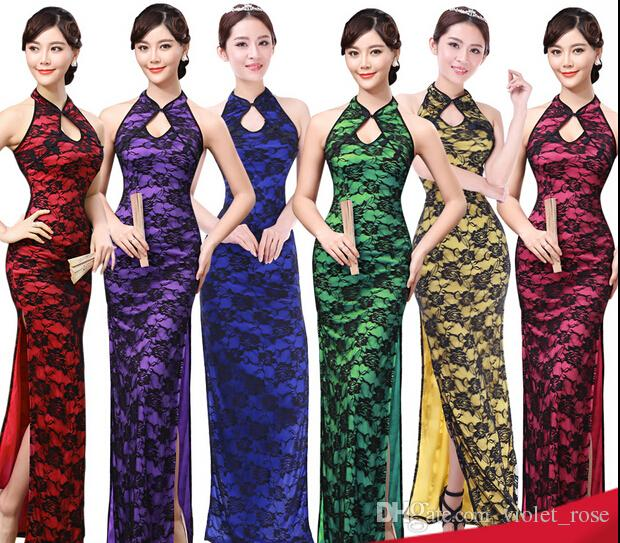 5176# Chinese Dresses Evening Dress Open Fork Lace Chinese Style ...