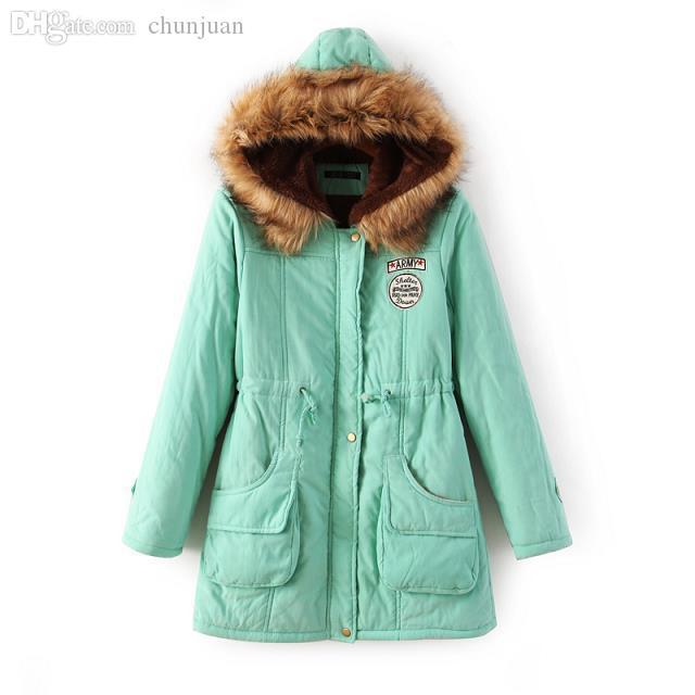 wholesale manteau femme abrigos mujer womans park manteau sleeve keep outwear candy color cotton - Manteau Femme Color