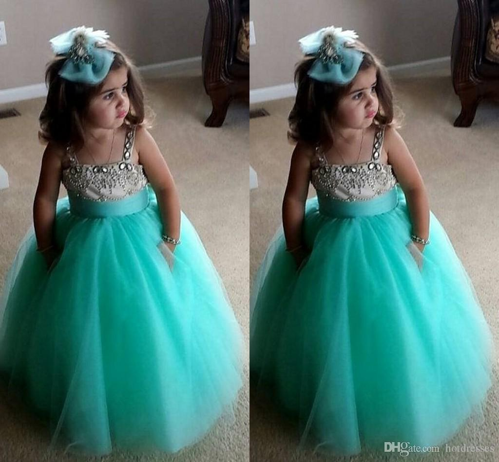 2015 Cheap Mint Green Flower Girl Dresses A-Line Spaghetti ...