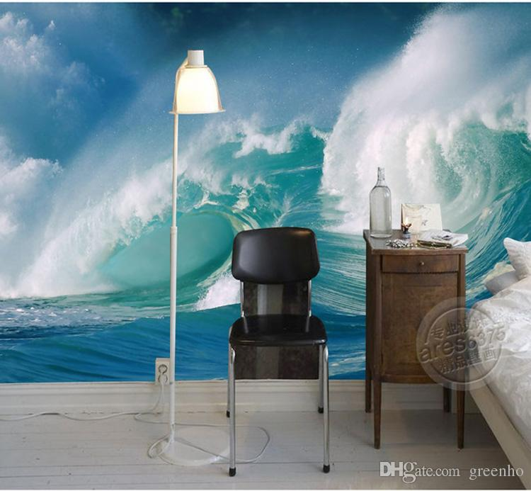 Custom sea wave wallpaper seascape photo wallpaper 3d for Cheap 3d wallpaper