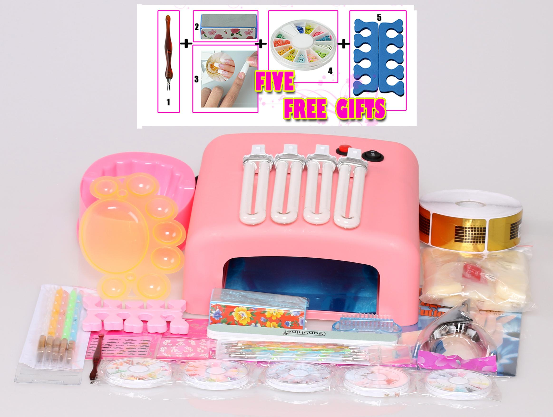 acrylic kit UV GEL KIT Brush tips Nail Art tools Kits + 5 Free gifts
