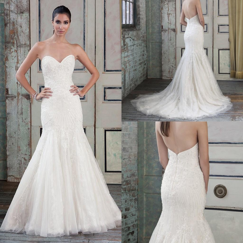 2016 Spring Luxury Mermaid Lace Wedding Dresses Sweetheart
