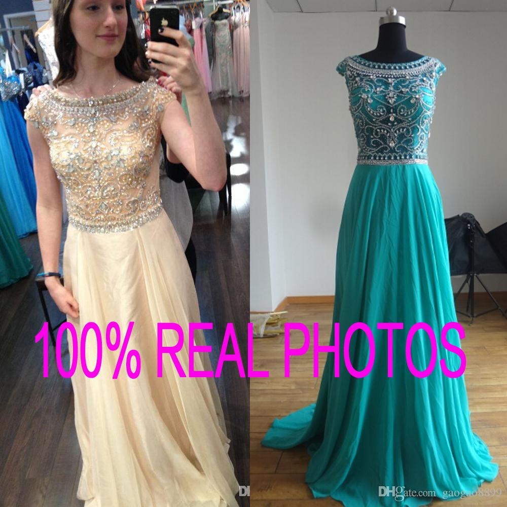 Real Image Evening Prom Dresses Backless Long Crystal Beads See ...