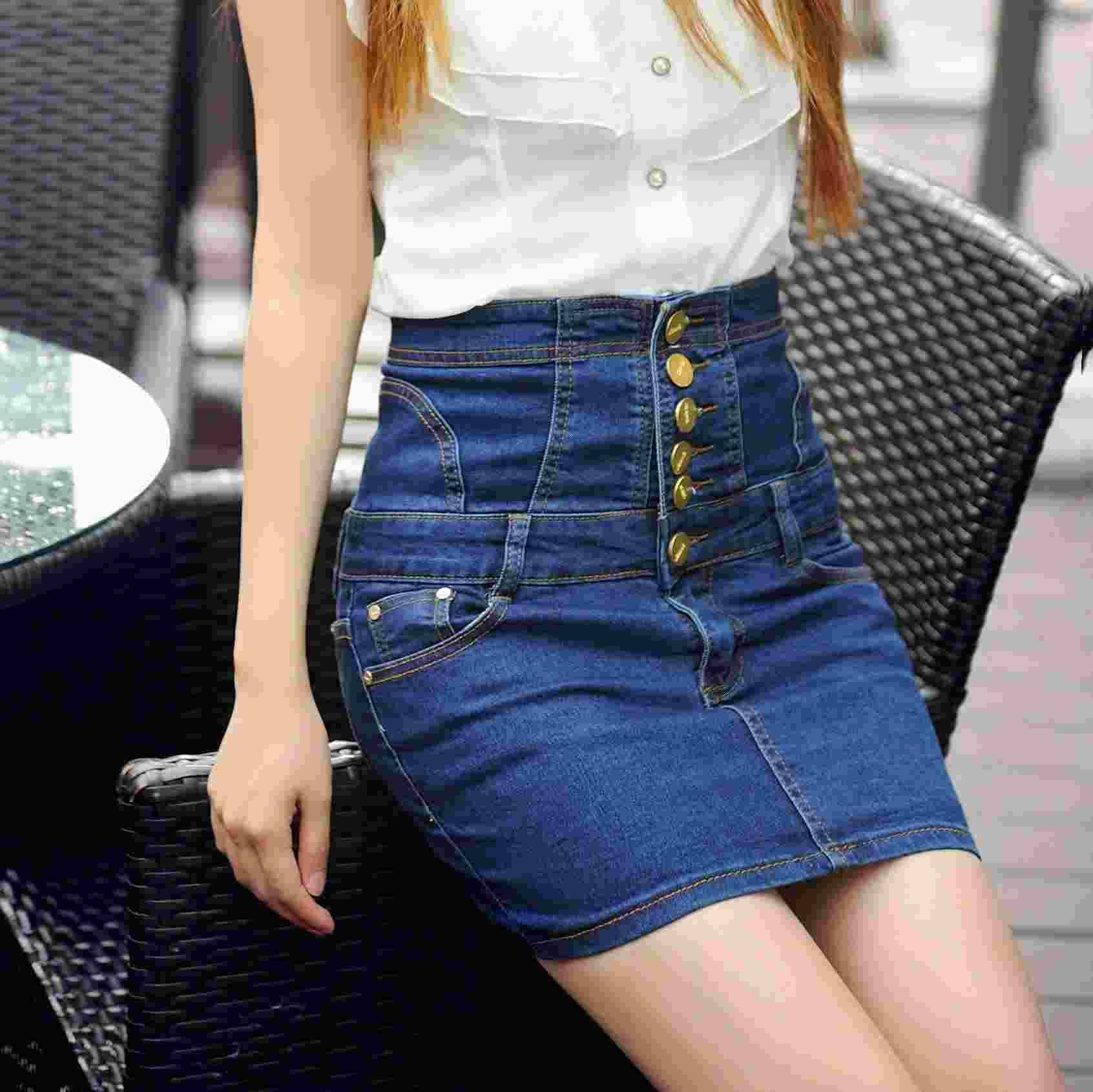 2017 Casual Women Short Jean Skirt 2015 Summer Fashion Denim Skirt ...