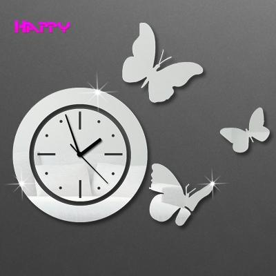 circles with butterfly wall clocks d mirror wall clock home decor, Home decor