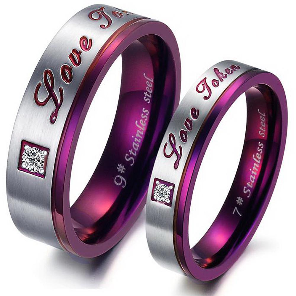 high quality purple couple titanium steel rings wedding bands inlaid crystal promise jewelry - Purple Wedding Rings