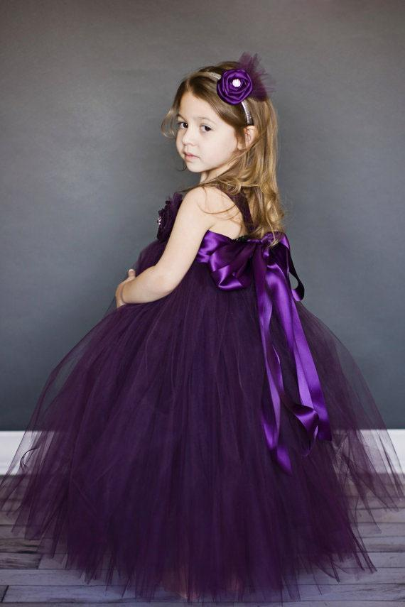Straps Ball Gown Dark Purple Flower Girl Dresses With Sash Holy ...