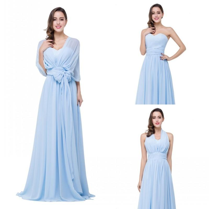 Light Sky BLue Cheap Mix Match Convertible Junior Bridesmaid ...