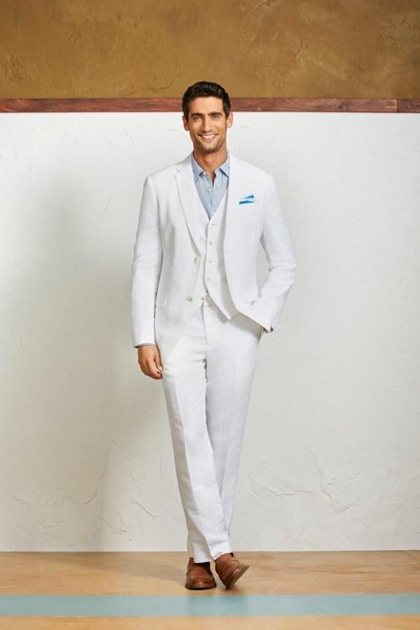 Casual Summer Linen Mens Suits White Mens Wedding Suit Notched ...