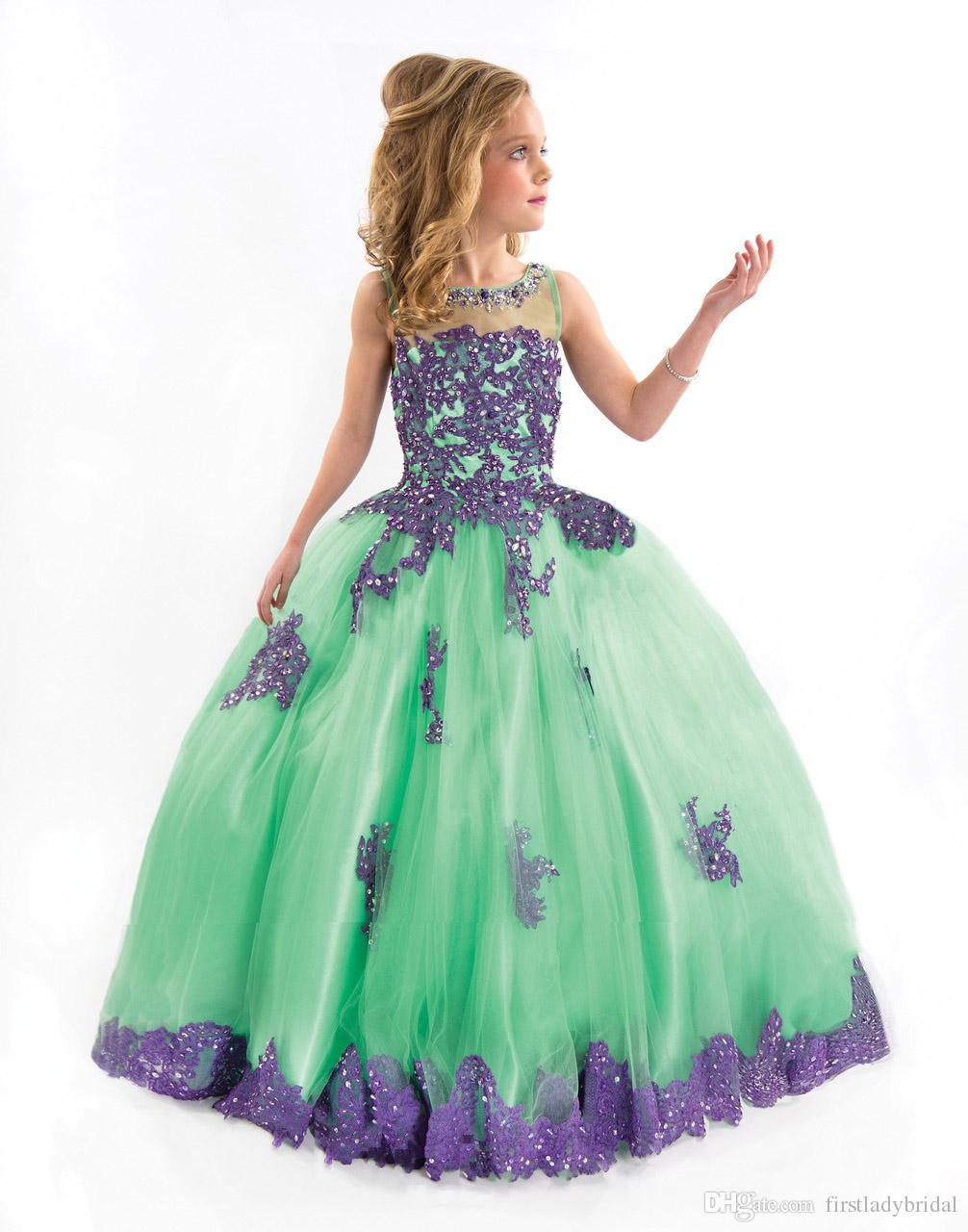 Little Girls Pageant Dresses Mint