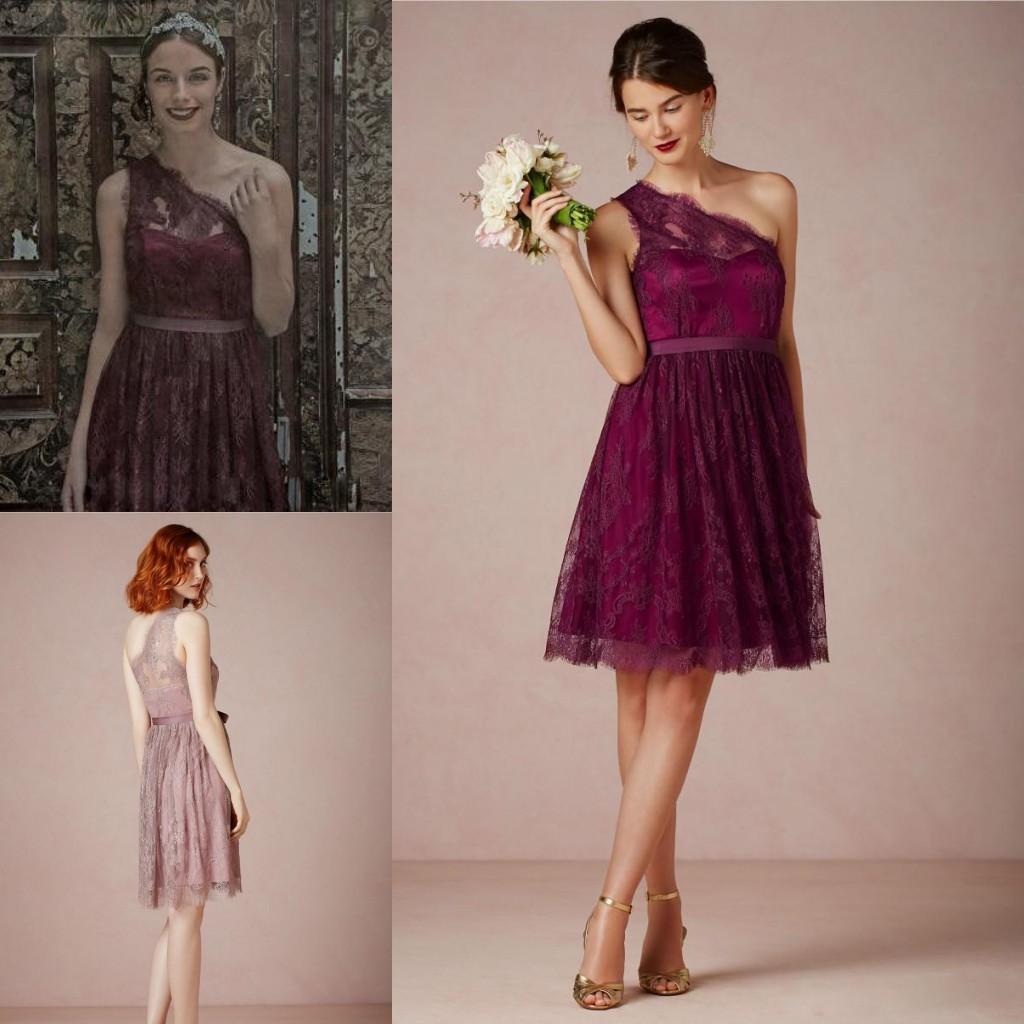 2015 Lace Burgundy Short Bridesmaid Wedding Party Dresses