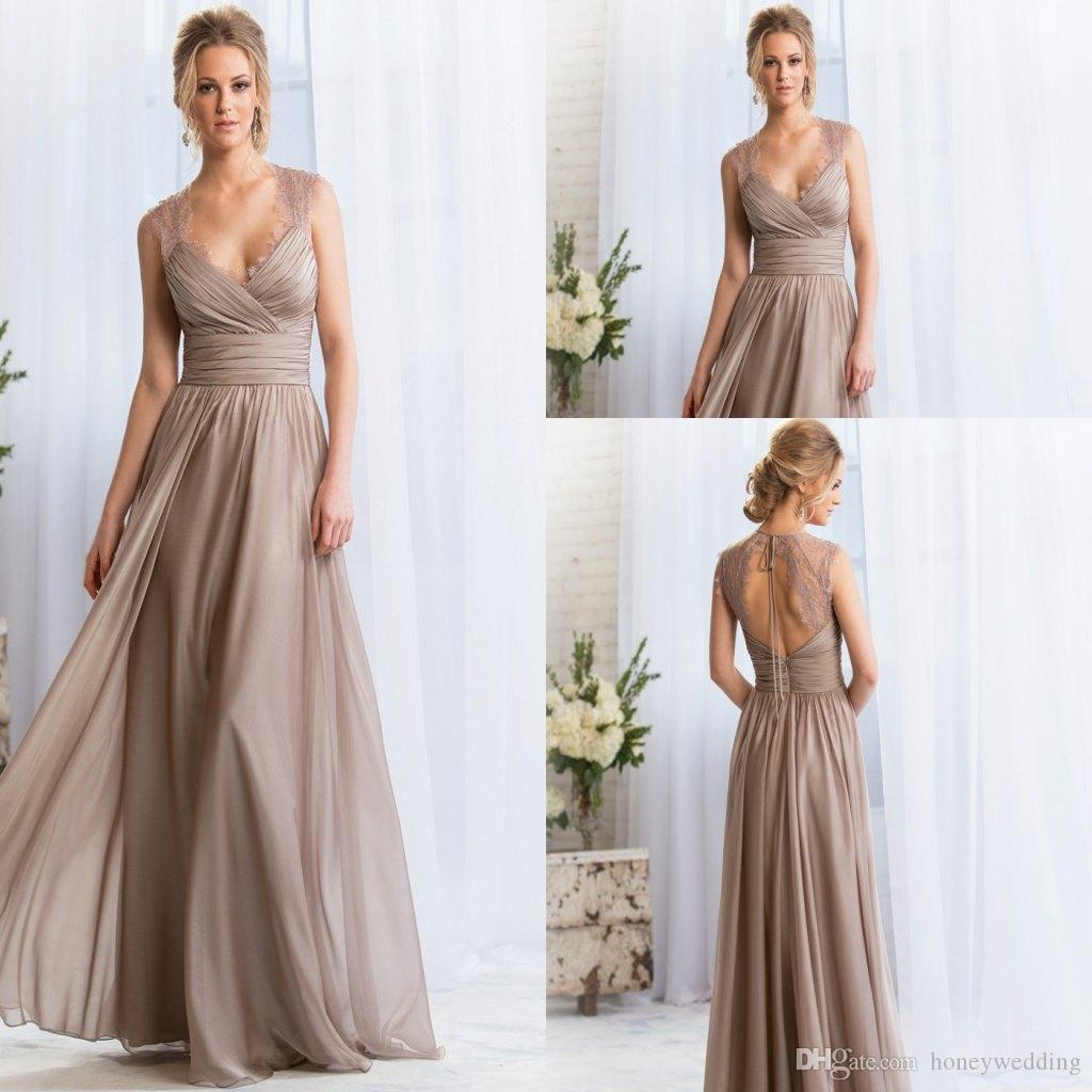 2015 V Neck Long Bridesmaid Dresses Lace Keyhole Backless