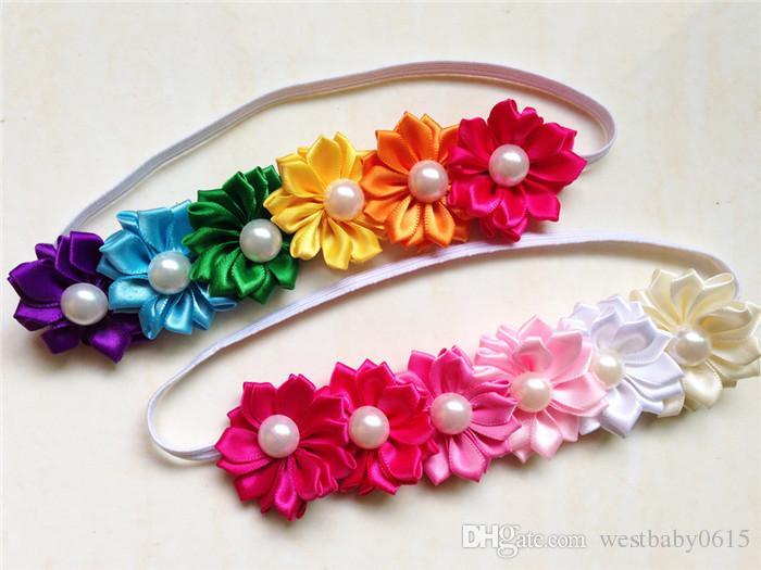 Accesorios para bebés niños niñas infantiles pelo hairband diadema diadema de flores de colores con 48pcs