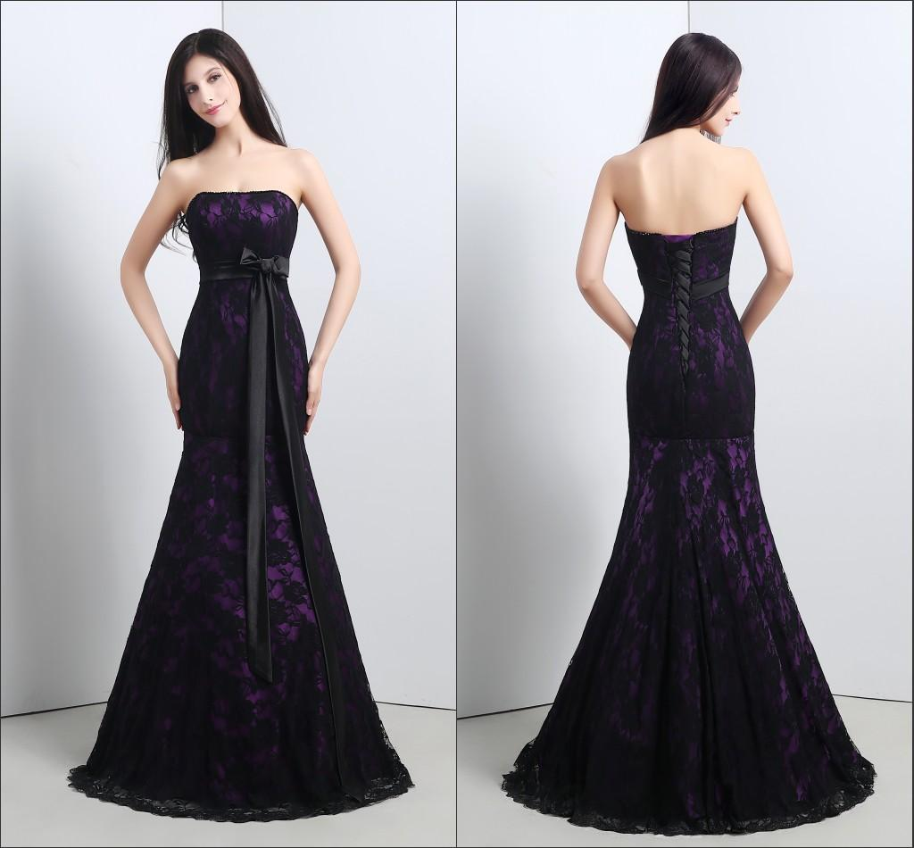 Real image mermaid wedding dresses 2015 black lace purple for Black mermaid wedding dresses