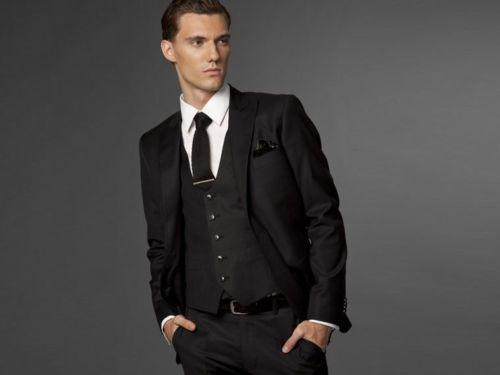 Mens Wedding Groom Work Business Formal Suits Jacket Pants Vest ...