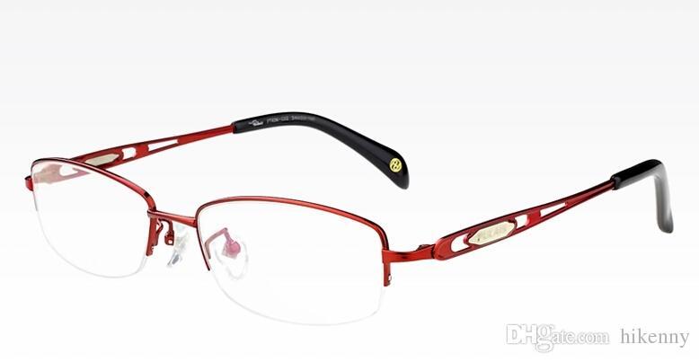 new womens eyeglasses women half optical frame purple red color lady eyeglass frames titanium high quality eye glasses online eyewear plastic eyeglasses