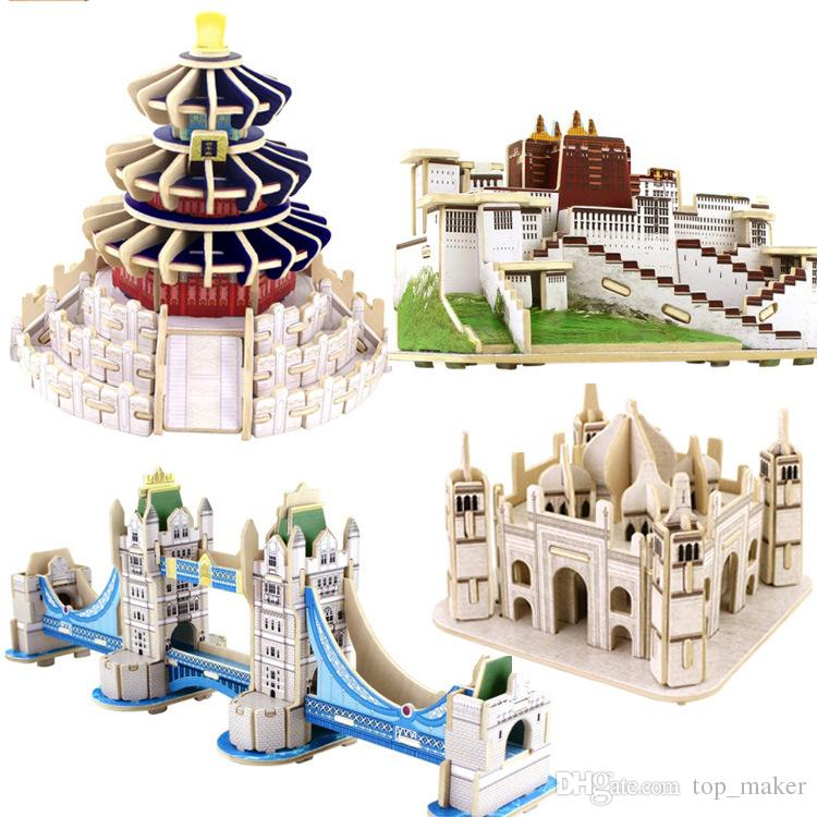 2017 4types for choice child diy 3d puzzle house wooden 3d model house maker