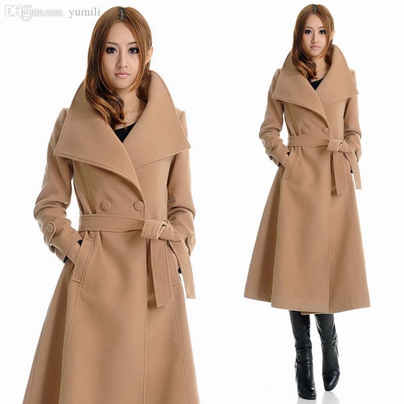 Wholesale-Falll New Womens XXXL Wool Coat , Female Long Camel ...