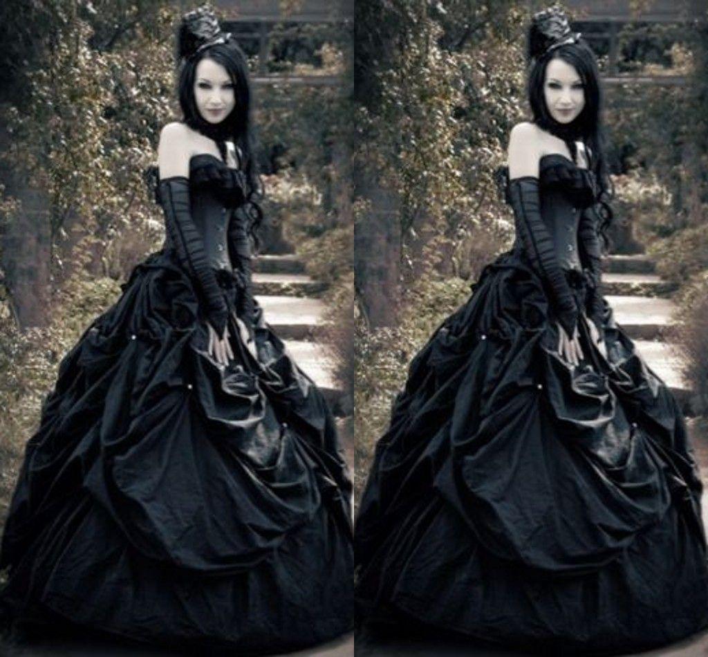 Discount 2016 Spring Corset Gothic Wedding Dresses A Line