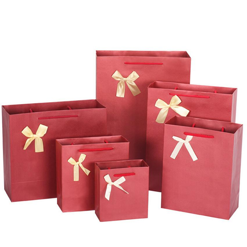 High quality paper gift bags korean style fashion bow