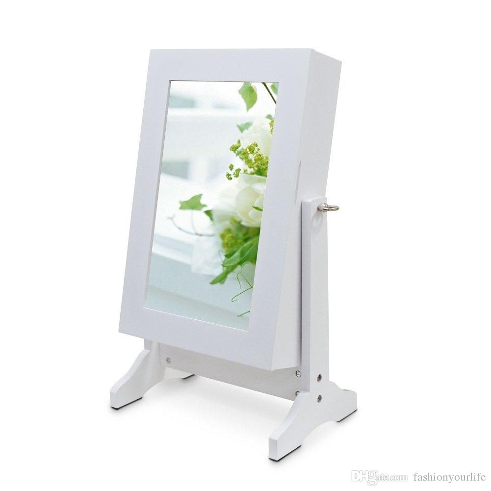 Wood Table Top Jewelry Box Mirror Jewelry Cabinet Free Stand With