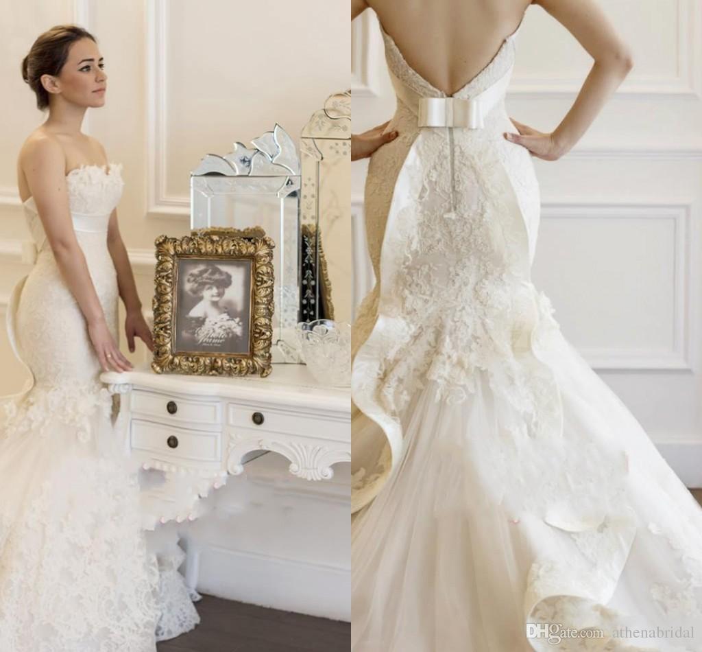 Vintage mermaid lace wedding dresses 2015 strapless for Vintage mermaid wedding dress