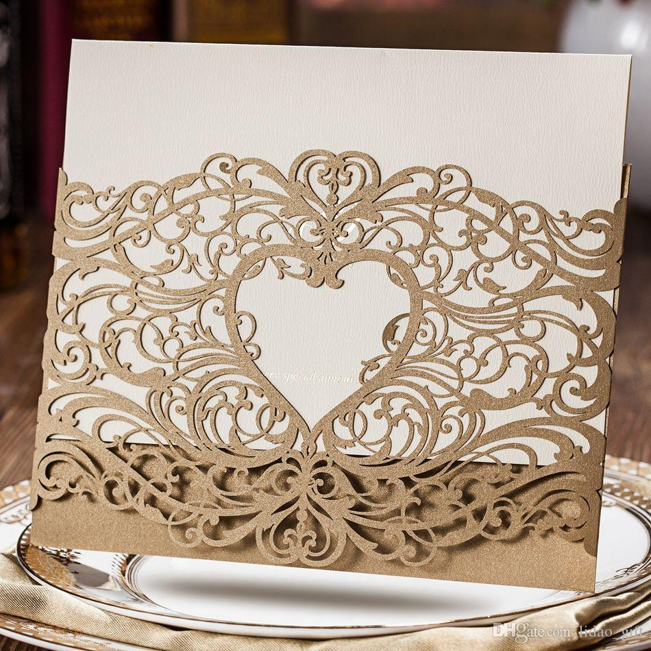 Wedding Invitations Laser Cut Heart Shape Free Customized Printing Wedding Invitation Cards ...