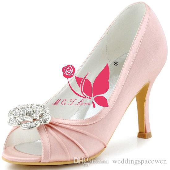 brand new cheap shoes pink satin heels bridal pleated