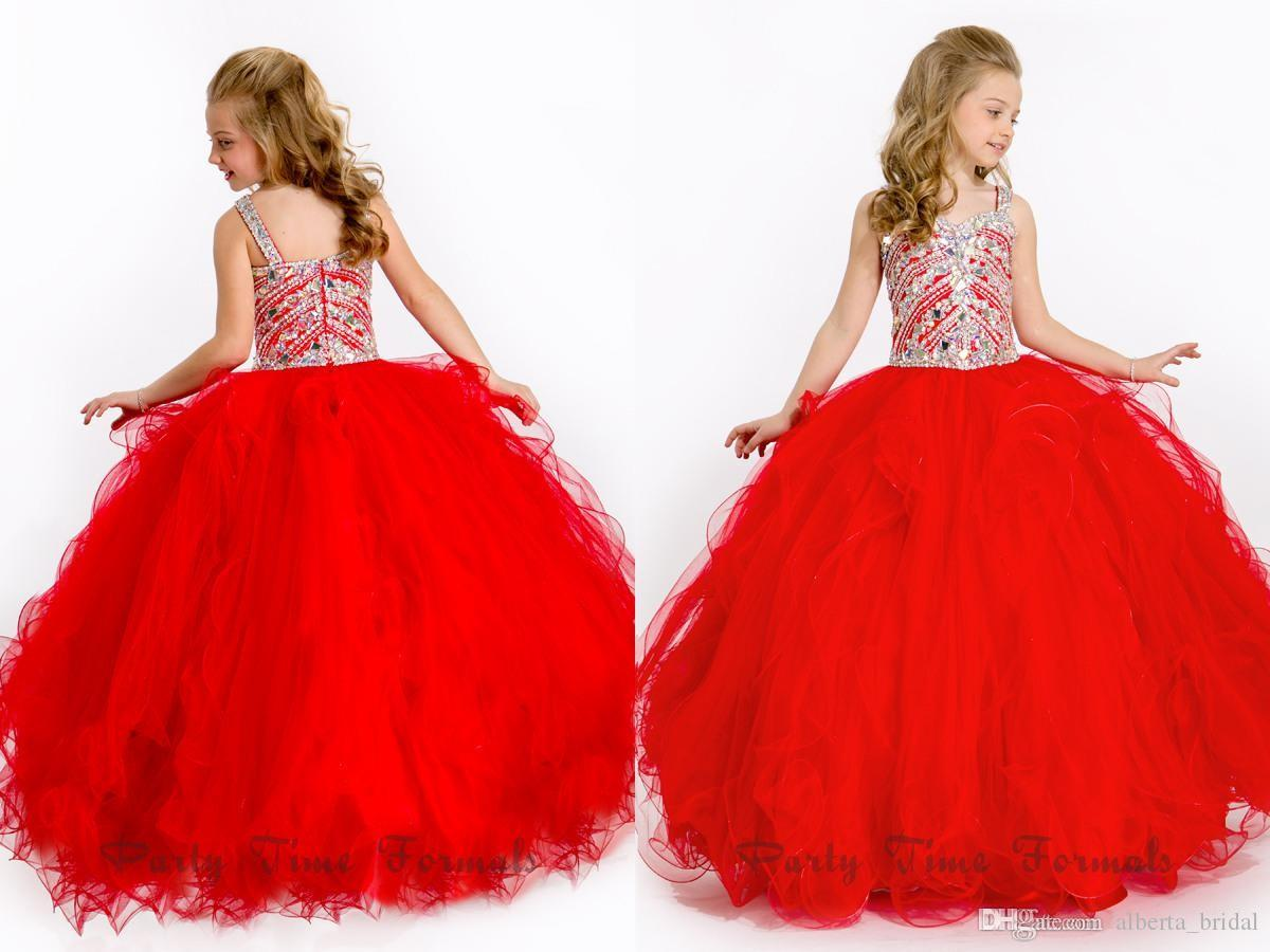 2015 Perfectly Princess Flower Girls Dresses Crystal Beads