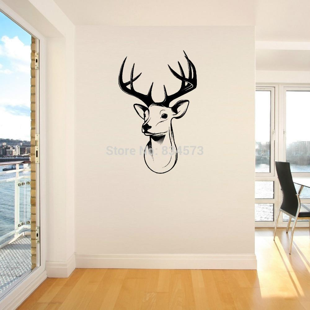 Home Decor Wall Sticker Stags Head Deer Trophy Antlers Steer Wall Art Sticker Wall Decal Diy Home Decoration Wall Mural Removable Room