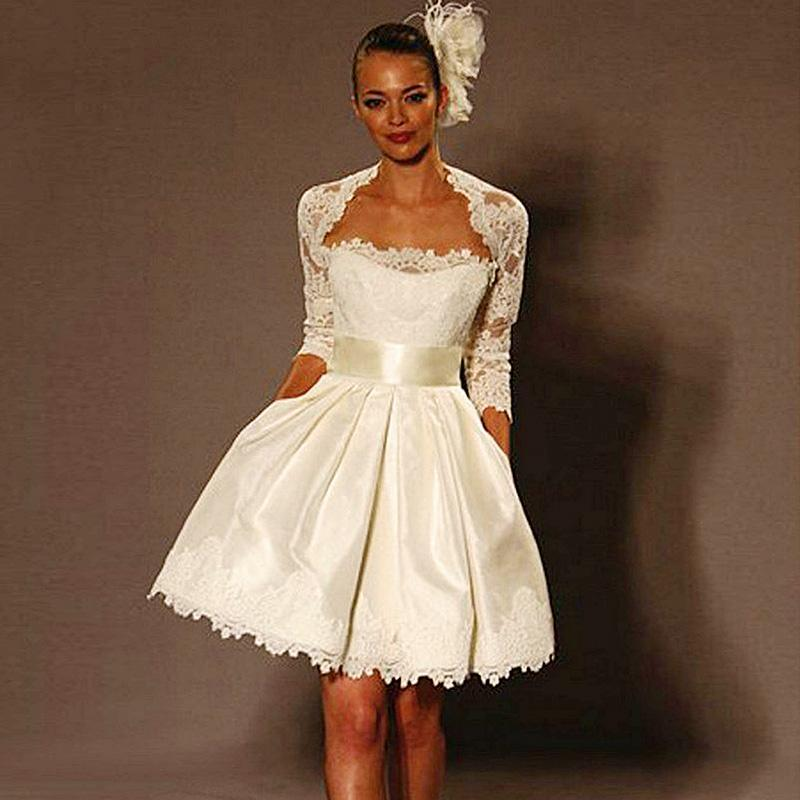2015 ball gown short wedding dresses ivory 3 4 long sleeve for Short white wedding dresses under 100