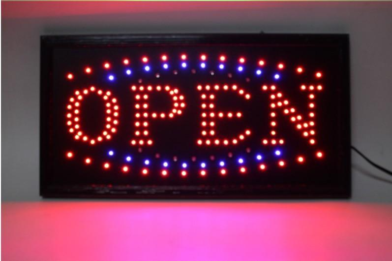 led neon light business open sign green blue red flicker us155 light. Black Bedroom Furniture Sets. Home Design Ideas