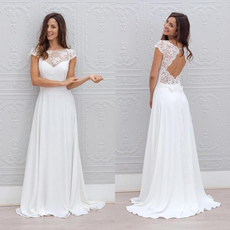 2016 Cheap Boho Wedding Dress Simple Beach Bridal Gowns Illusion Neckline Cap Sleeves Open Back