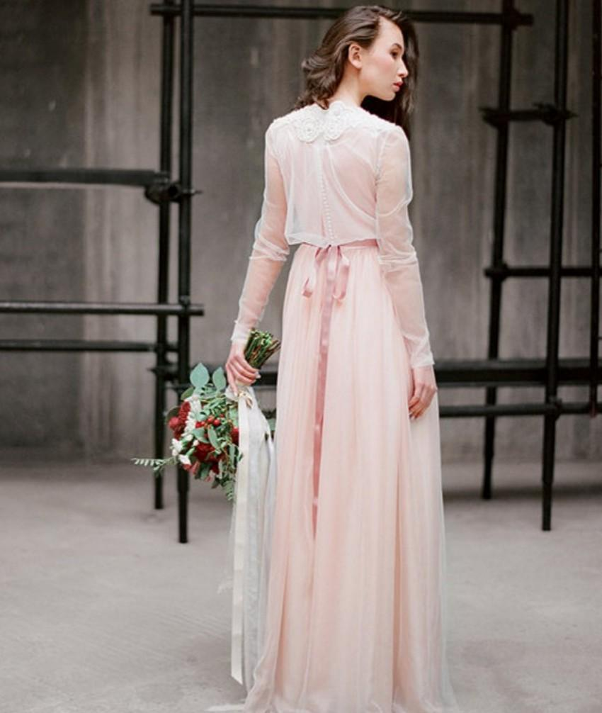 Rustic Country Blush Pink Wedding Dresses Vintage Simple Style ...