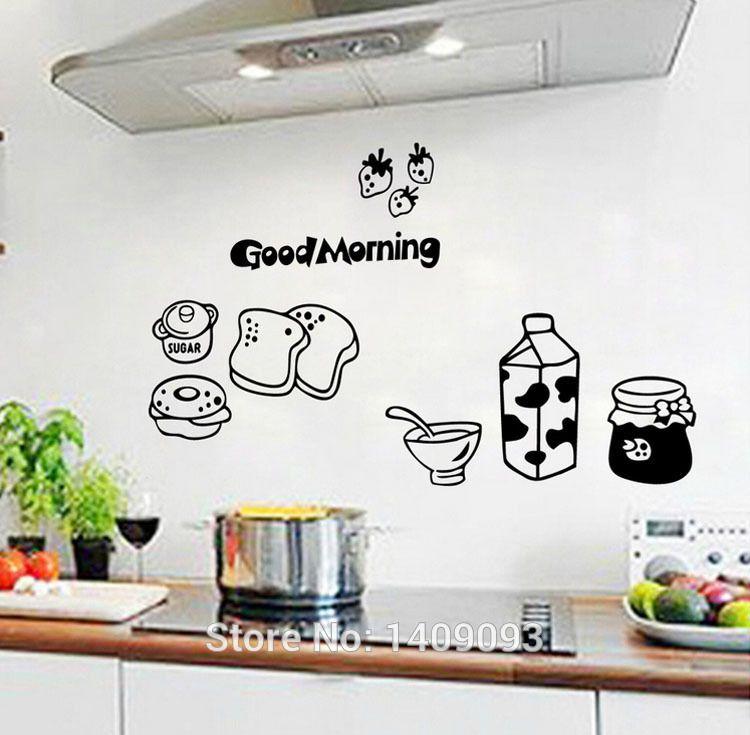 Kitchen Wall Tile Sticker Vinyl Quotes Good Morning Bread Milk Waterproof Decoraive Kitchen Wall Decor