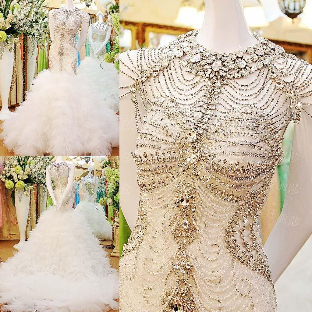 2015 Sparkling Diamond Crystals Mermaid Wedding Dresses