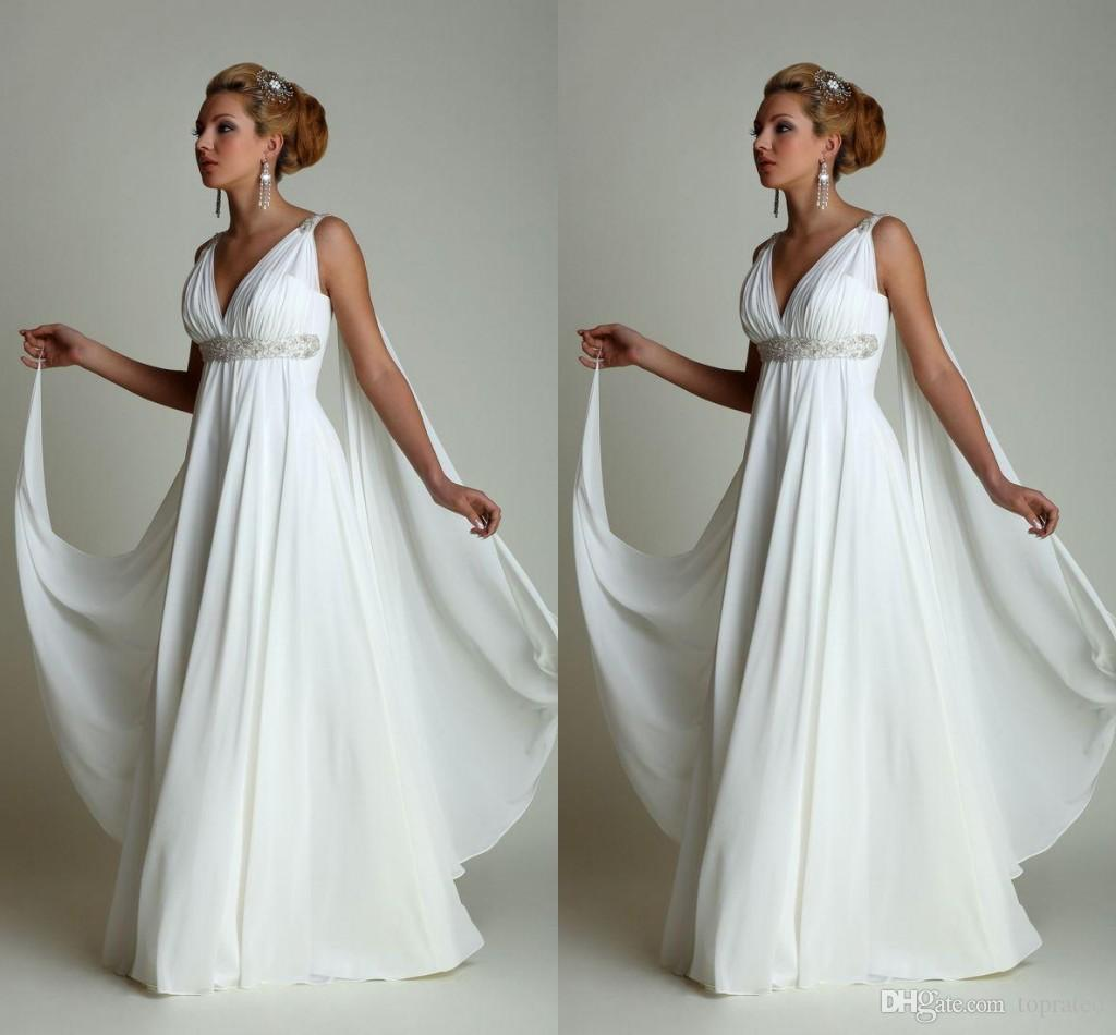 Discount boho wedding dresses 2016 long chiffon grecian for Grecian chiffon wedding dress