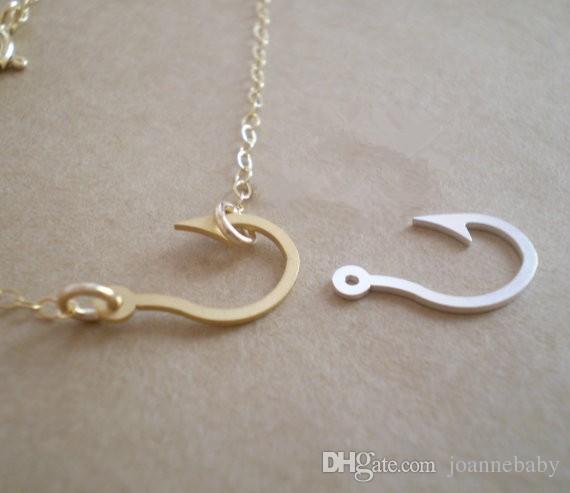 Wholesale n2 gold silver maori hawaiian fish hook pendant for Gold fish hook necklace