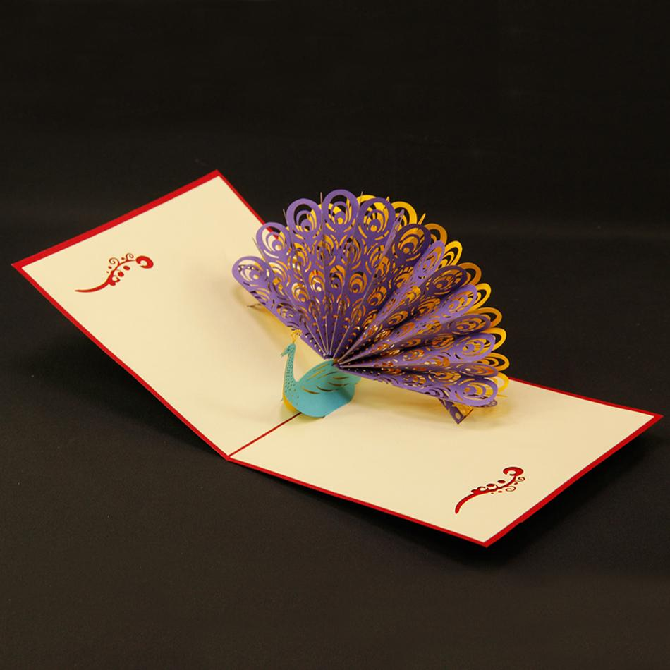 ... Cards 3D Peacock in Red For Birthday Personalised Cards Free Shipping