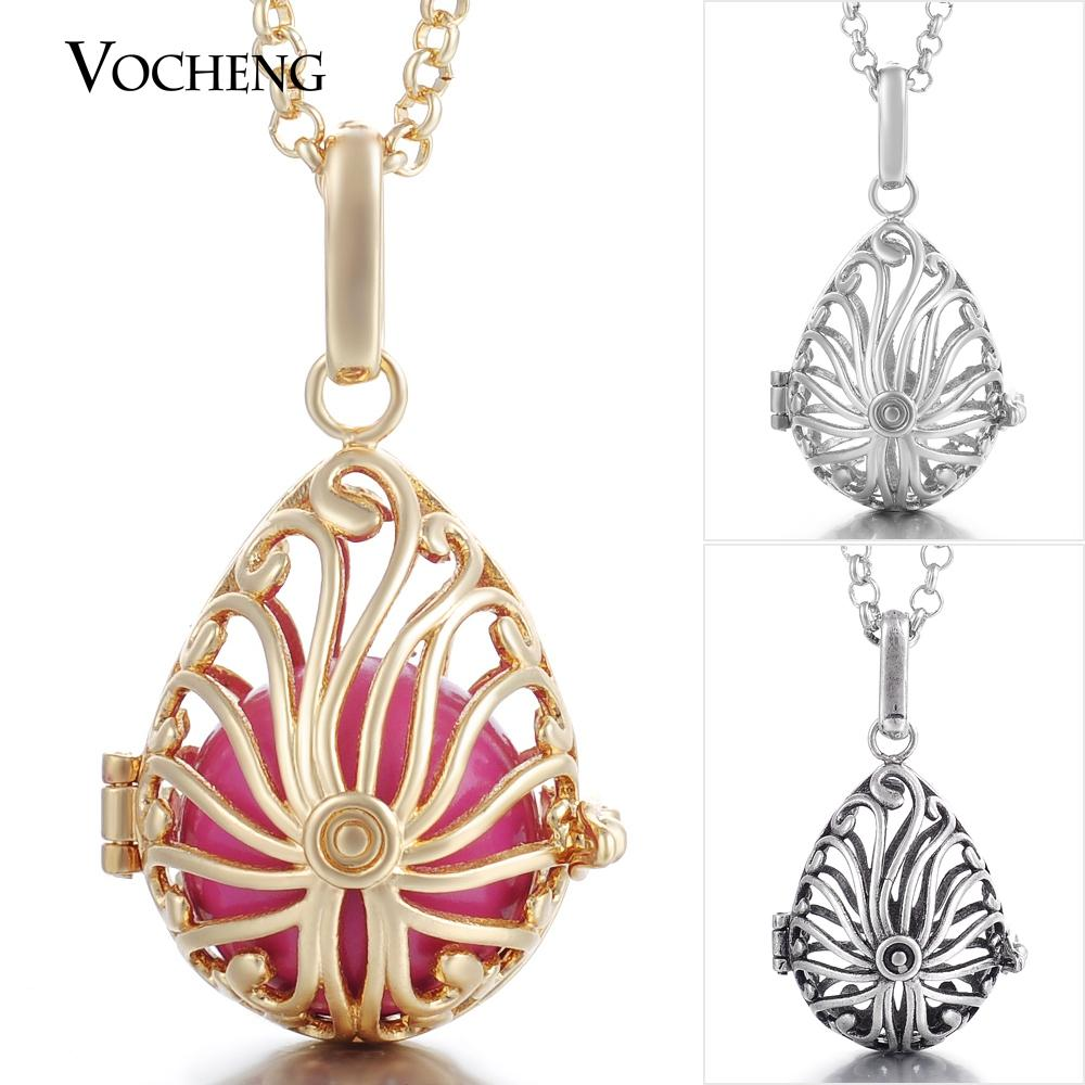 VOCHENG Chime Harmony Vintage Water Drop pendentif Angel Ball Cage Collier avec